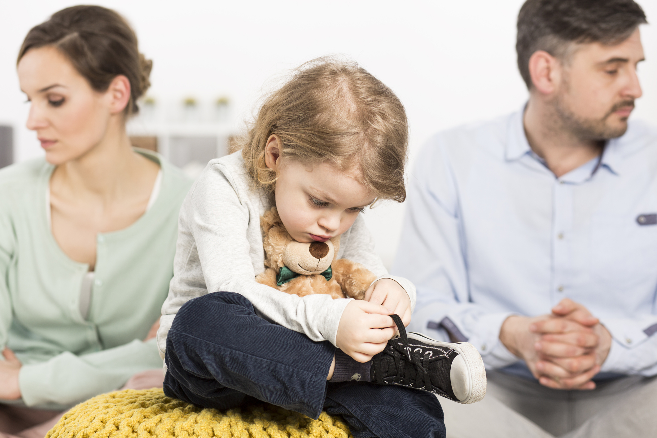 Unhappy couple with child