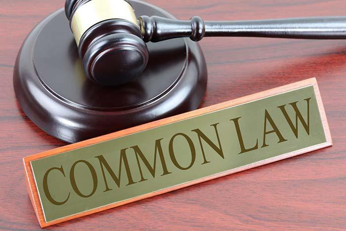 Gavel with sign that says common law