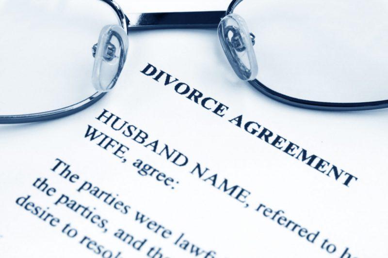 Divorce agreement with eyeglasses